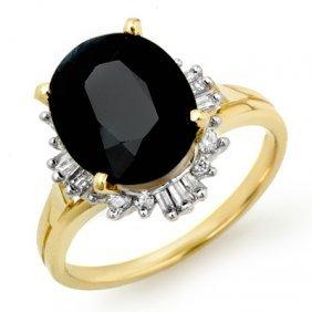 Genuine 3.88ctw Sapphire & Diamond Ring 14K Yellow Gold
