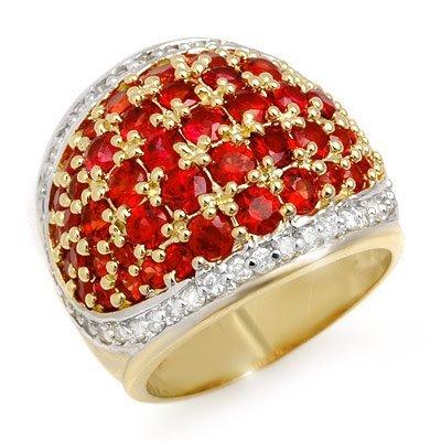 Genuine 5.75 ctwRed Sapphire & Diamond Ring Yellow Gold