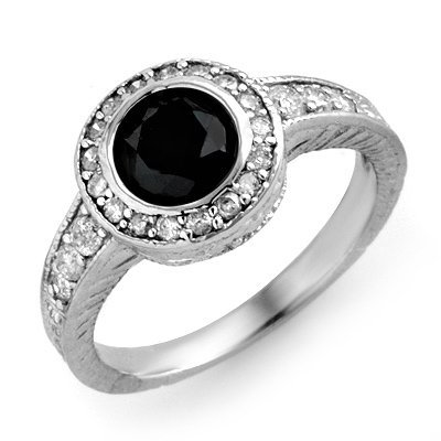 Natural 1.38 ctw White & Black Diamond Ring 14K Gold