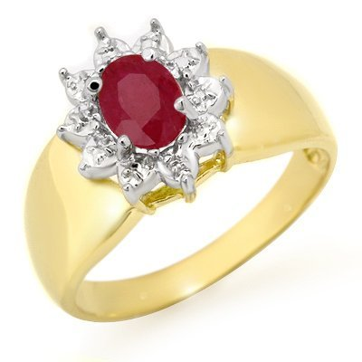Genuine 0.50 ctw Ruby Ring 10K Yellow Gold