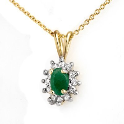 Genuine 0.51 ctw Emerald & Diamond Pendant Yellow Gold