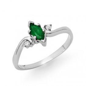 Genuine 0.29 ctw Emerald & Diamond Ring 10K White Gold