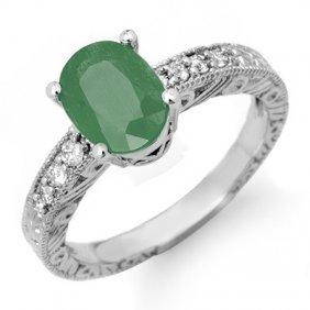 Genuine 2.56 ctw Emerald & Diamond Ring 14K White Gold