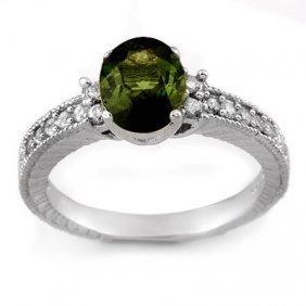 Genuine 2.17 ctw Green Tourmaline & Diamond Ring Gold
