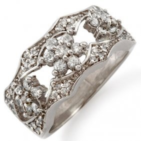 Natural 0.90 ctw Diamond Ring 14K White Gold