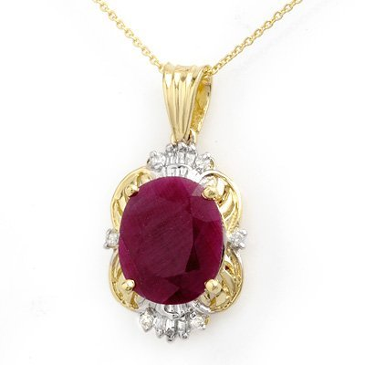 Genuine 6.39 ctw Ruby & Diamond Pendant 14K Yellow Gold