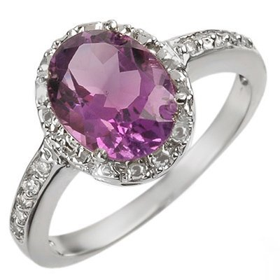 Genuine 2.15 ctw Amethyst & Diamond Ring 10K White Gold