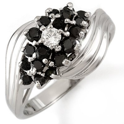 Natural 0.65 ctw Black Diamond Bridal Ring 10k Gold