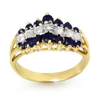 Genuine 1.02 ctw Sapphire & Diamond Ring Yellow Gold