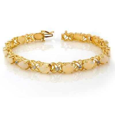 Genuine 7.05 ctw Opal & Diamond Bracelet Yellow Gold