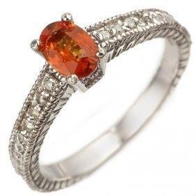 Genuine 0.81 Ctw Orange Sapphire & Diamond Ring 10K Whi