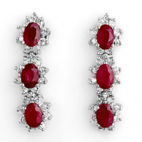Genuine 2.81 ctw Ruby & Diamond Earrings Yellow Gold