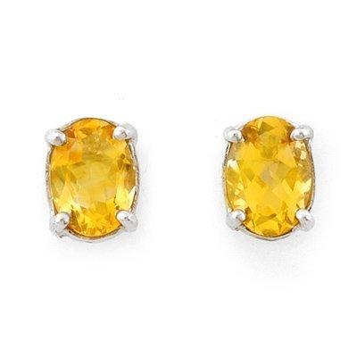 Genuine 1.50 ctw Citrine Stud Earrings 14K White Gold