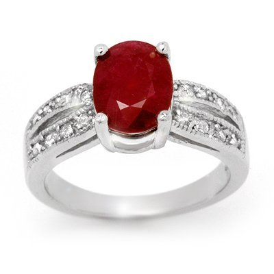 Genuine 3.02 ctw Ruby & Diamond Ring 14K White Gold