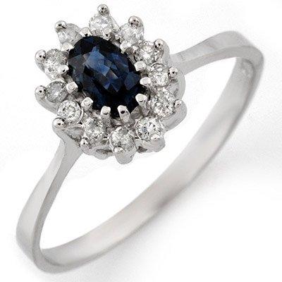 Genuine 0.60 ctw Blue Sapphire & Diamond Ring 14K White