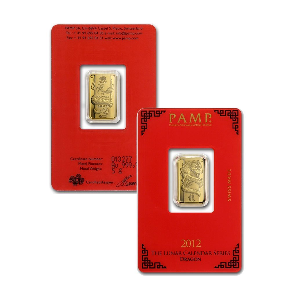 5 gram Pamp Suisse Year of the Dragon .9999 Fine Gold
