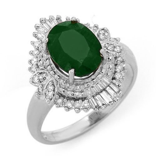 Natural 2.58 ctw Emerald & Diamond Ring 18K White Gold