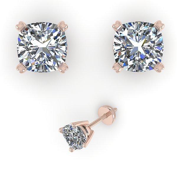 Genuine 1.06 CTW Cushion Cut Certified Diamond Stud