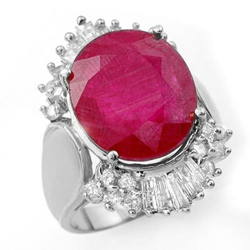 Genuine 15.75 ctw Ruby & Diamond Ring 18K White Gold -