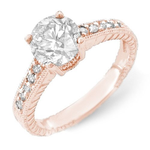 Natural 1.05 ctw Diamond Solitaire Ring 14K Rose Gold -