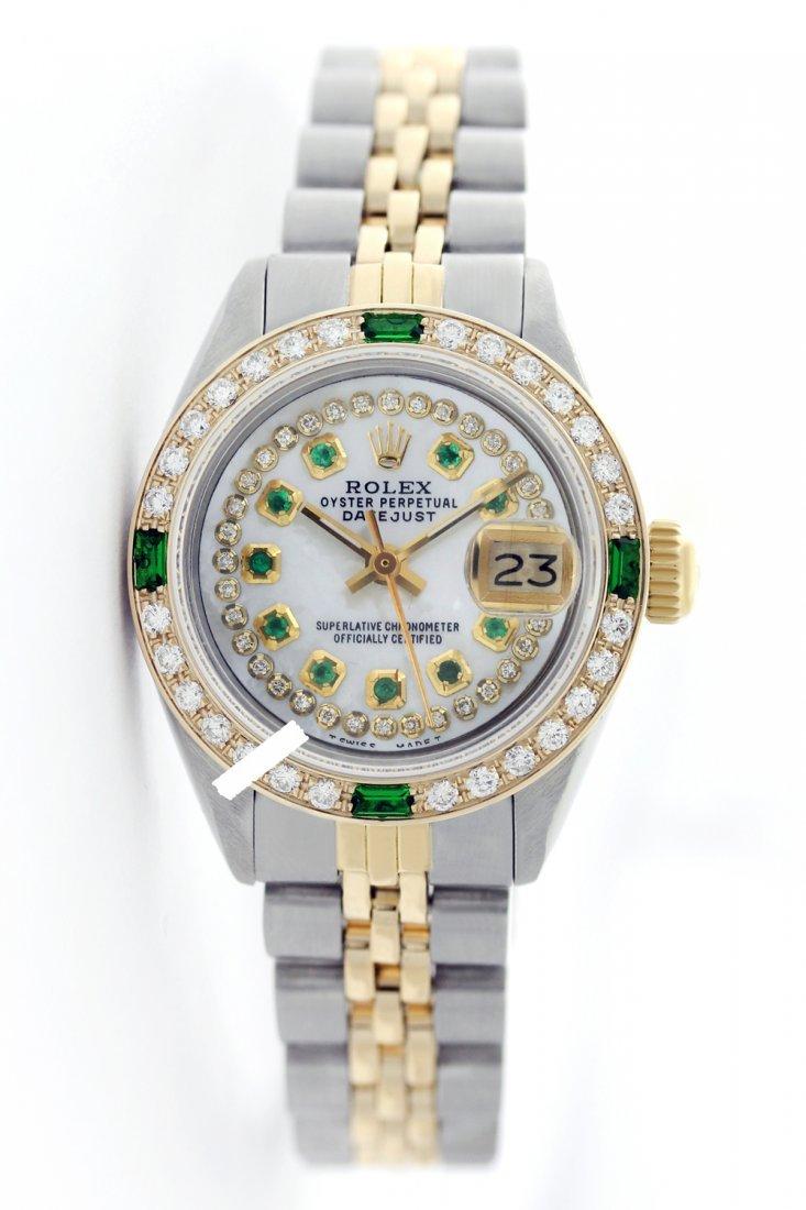 Rolex Men's 2Tone 14K Gold/ SS, QuickSet, Diam/Emerald