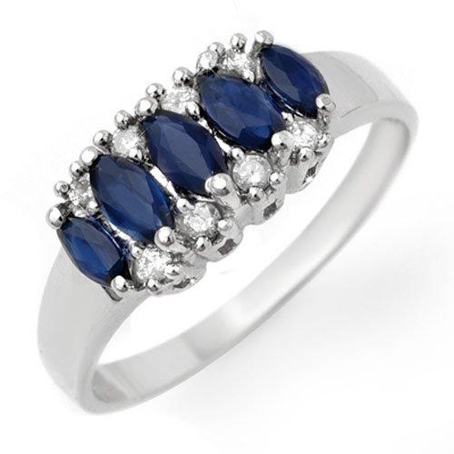 Genuine 1.02 ctw Blue Sapphire & Diamond Ring 10K White