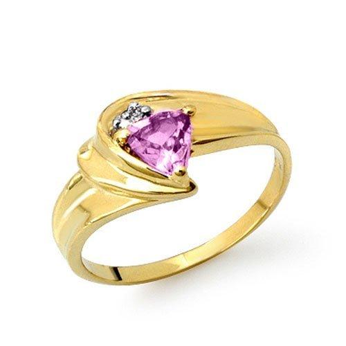 Natural 0.41 ctw Amethyst & Diamond Ring 10K Yellow
