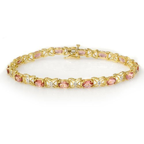 Genuine 6.0 ctw Pink Tourmaline & Diamond Bracelet 14K