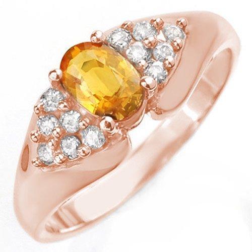 Natural 0.90 ctw Yellow Sapphire & Diamond Ring 14K