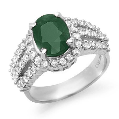 Genuine 4.0 ctw Emerald & Diamond Ring 18K White Gold -