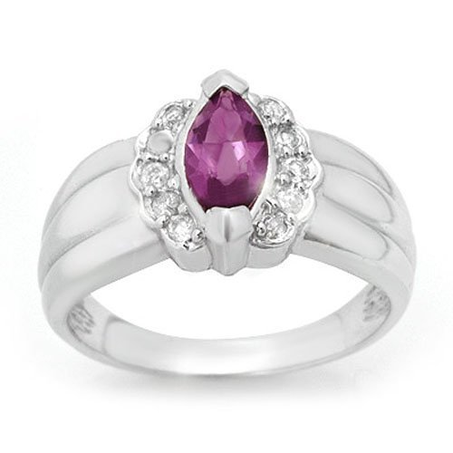 Natural 1.57 ctw Amethyst & Diamond Ring 18K White Gold