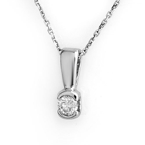 Natural 0.25 ctw Diamond Necklace 18K White Gold -