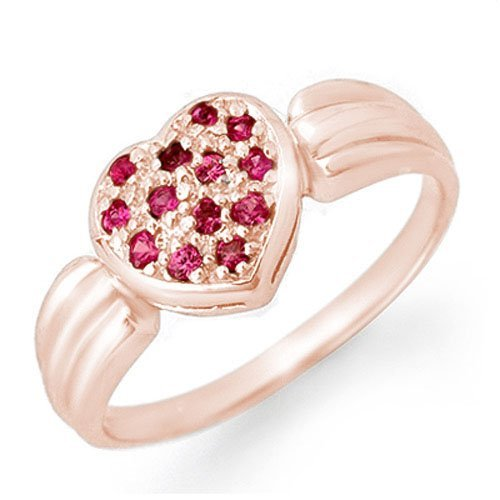 Genuine 0.40 ctw Pink Sapphire Ring 18K Rose Gold -