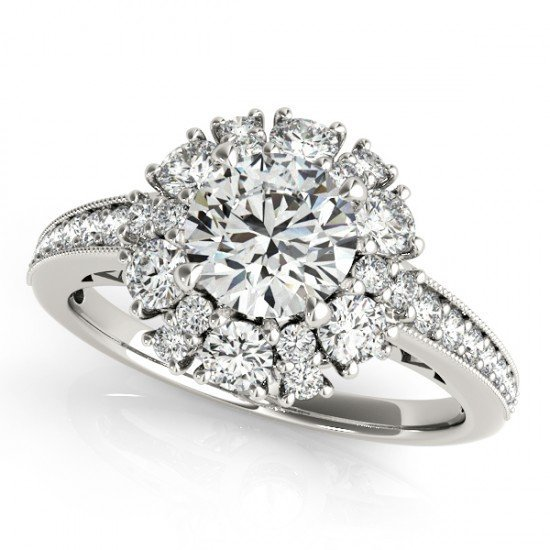 2.16 CTW Certified Diamond Bridal Solitaire Halo Ring