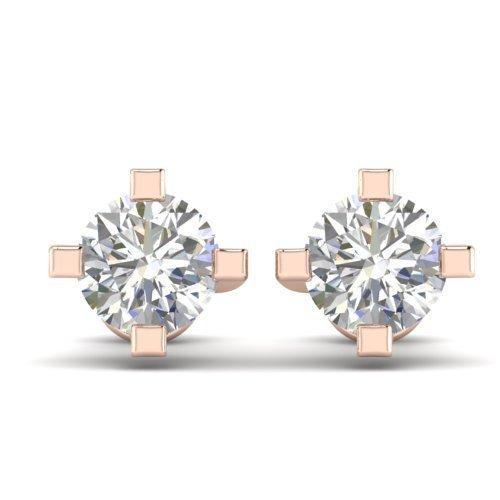 1.0 CTW Certified Diamond Solitaire Stud Earrings 18K