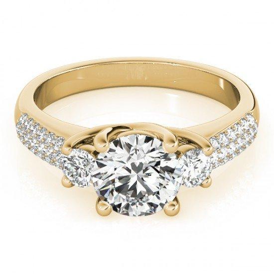 1.25 CTW Certified Diamond 3 Stone Bridal Micro Pave