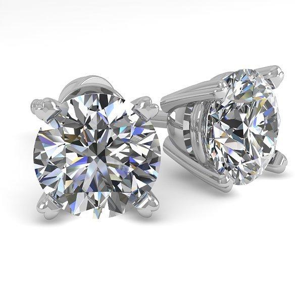 1.53 CTW Certified Diamond Stud Solitaire Earrings 18K