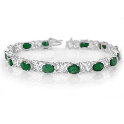 12.05 ctw Emerald & Diamond Bracelet 14K White Gold -