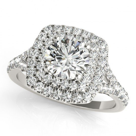 1.60 CTW Certified Diamond Bridal Solitaire Halo Ring