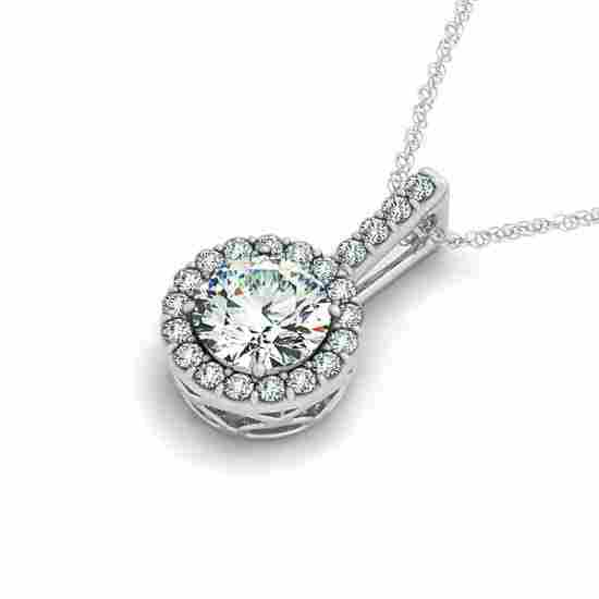 1.50 CTW Certified Diamond Solitaire Halo Necklace 14K