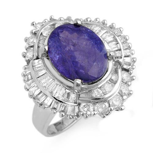 6.0 ctw Tanzanite & Diamond Ring 18K White Gold -