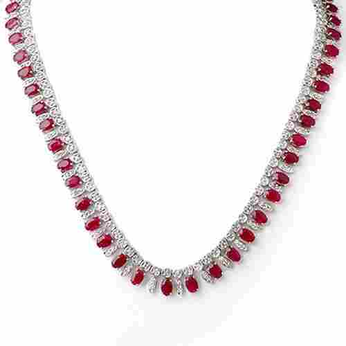 26 ctw Ruby & Diamond Necklace 14K White  Gold -