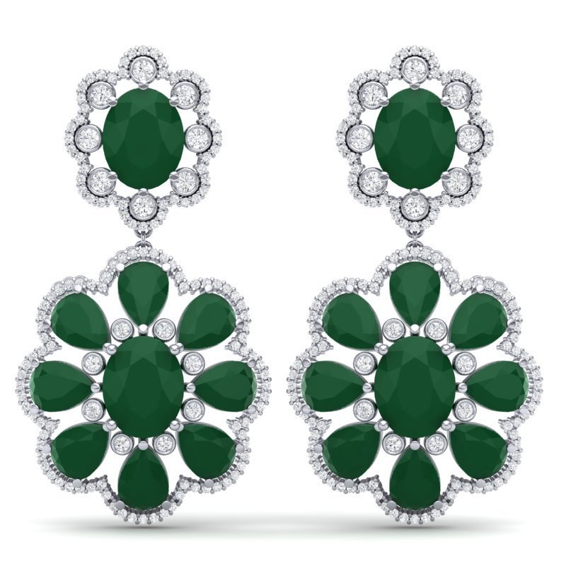 33.88 CTW Royalty Emerald & VS Diamond Earring 18K Gold