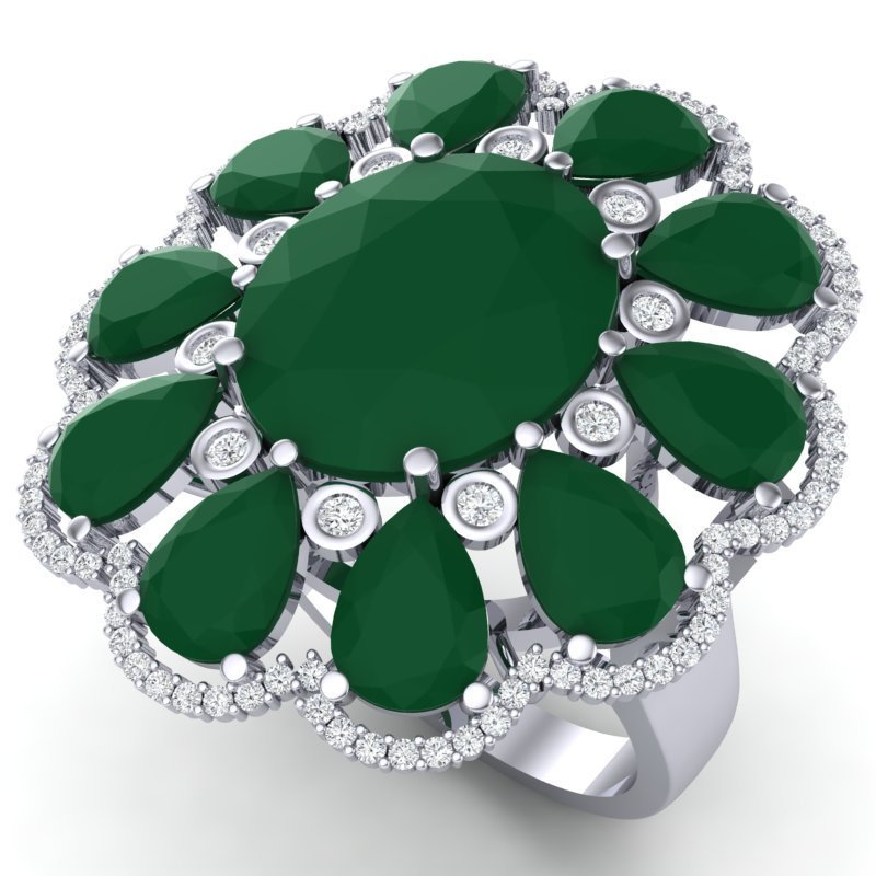 20.63 CTW Royalty Designer Emerald & VS Diamond Ring