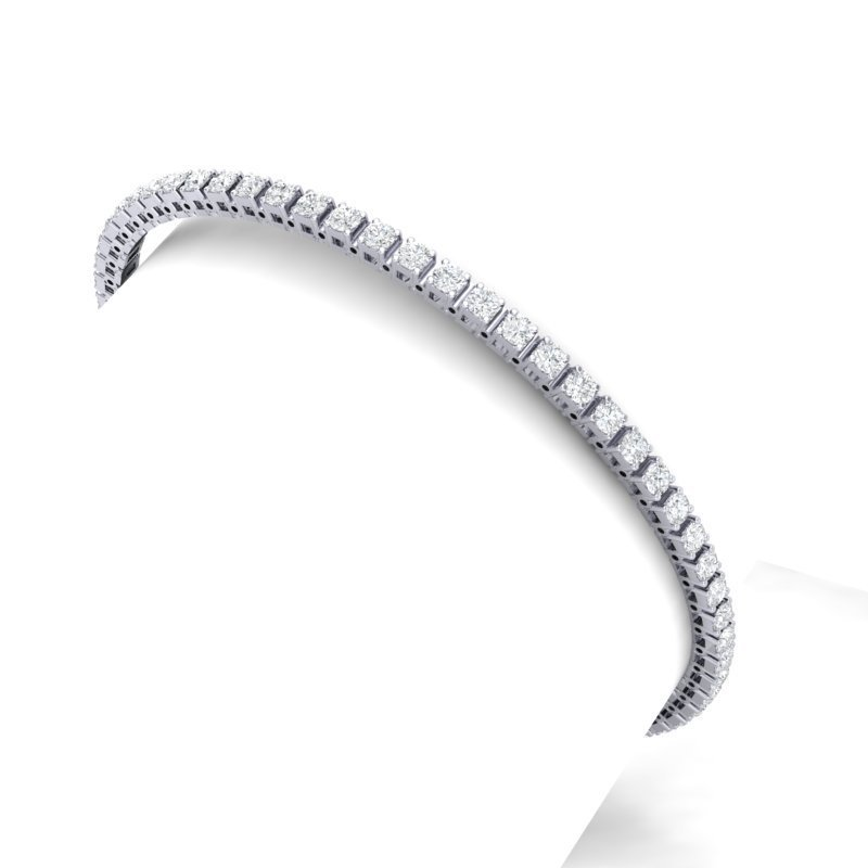 4 CTW Certified SI/I Diamond Bracelet 18K White Gold -