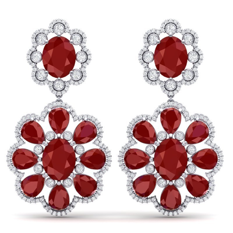 33.88 CTW Royalty Designer Ruby & VS Diamond Earring