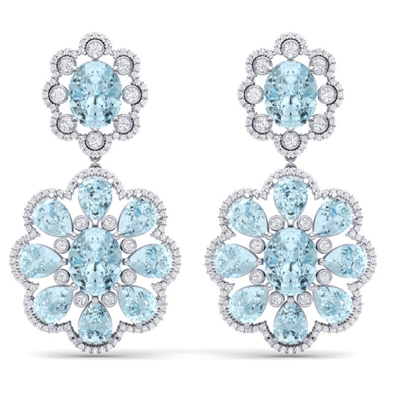 32.99 CTW Royalty Sky Topaz & VS Diamond Earring 18K