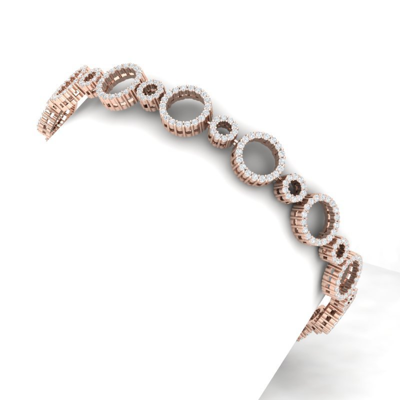 5 CTW Certified SI/I Diamond Halo Bracelet 18K Rose