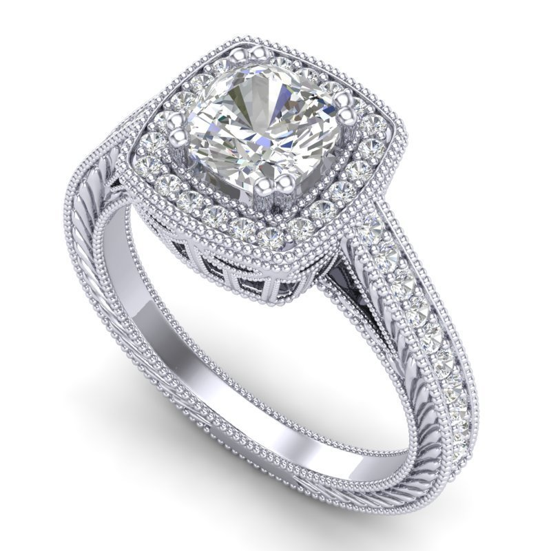 1.77 CTW Cushion VS/SI Diamond Solitaire Art Deco Ring