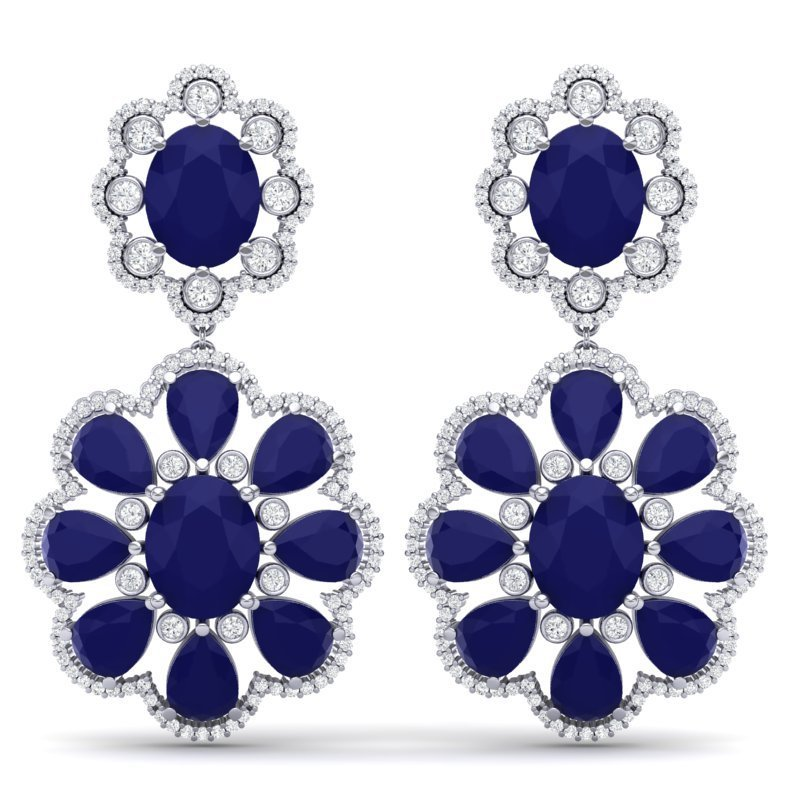 33.88 CTW Royalty Sapphire & VS Diamond Earring 18K